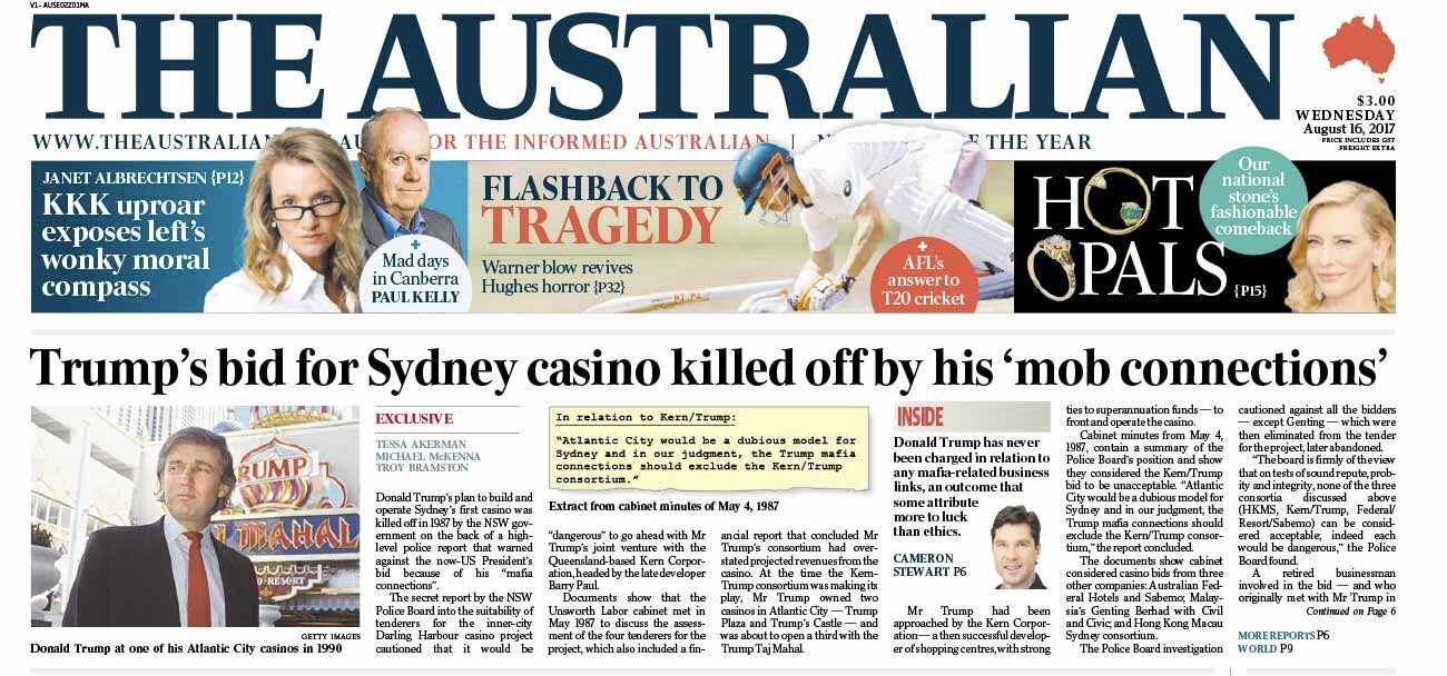 Trump lost casino in Sydney 30 years ago because government found 'mafia ties' https://t.co/4n9vzxWymA https://t.co/OOMdiX5d2P