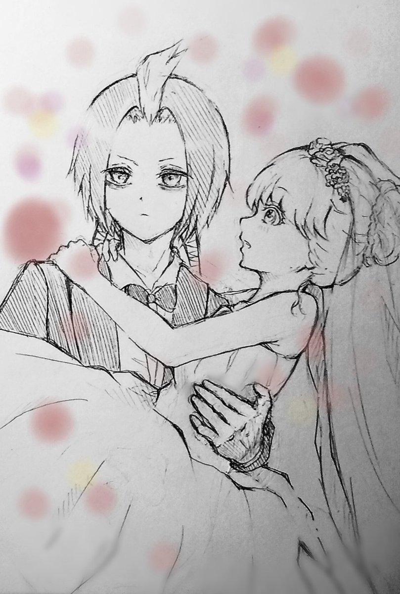 #双星の陰陽師#天若清弦#音海紫#清紫 #妄想 結婚式💖紫  (1度くらいはお姫様抱っこしてもらいたいなぁ……)紫「きゃ