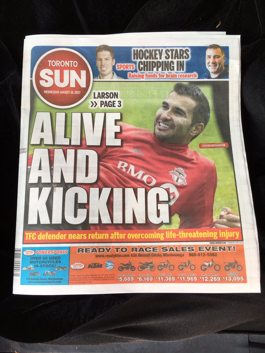 Love this.  #TFC on the front cover of @TheTorontoSun Good article on what Beitashour went through by @KurtLarSUN https://t.co/4K4JTTyRVn