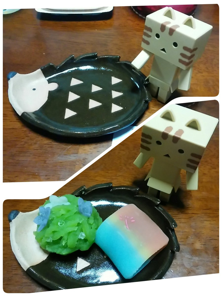 にゃんぼー #うめだどうぶつえん でSUNさん( )のお皿購入。早速和菓子乗せてみた。素敵😆