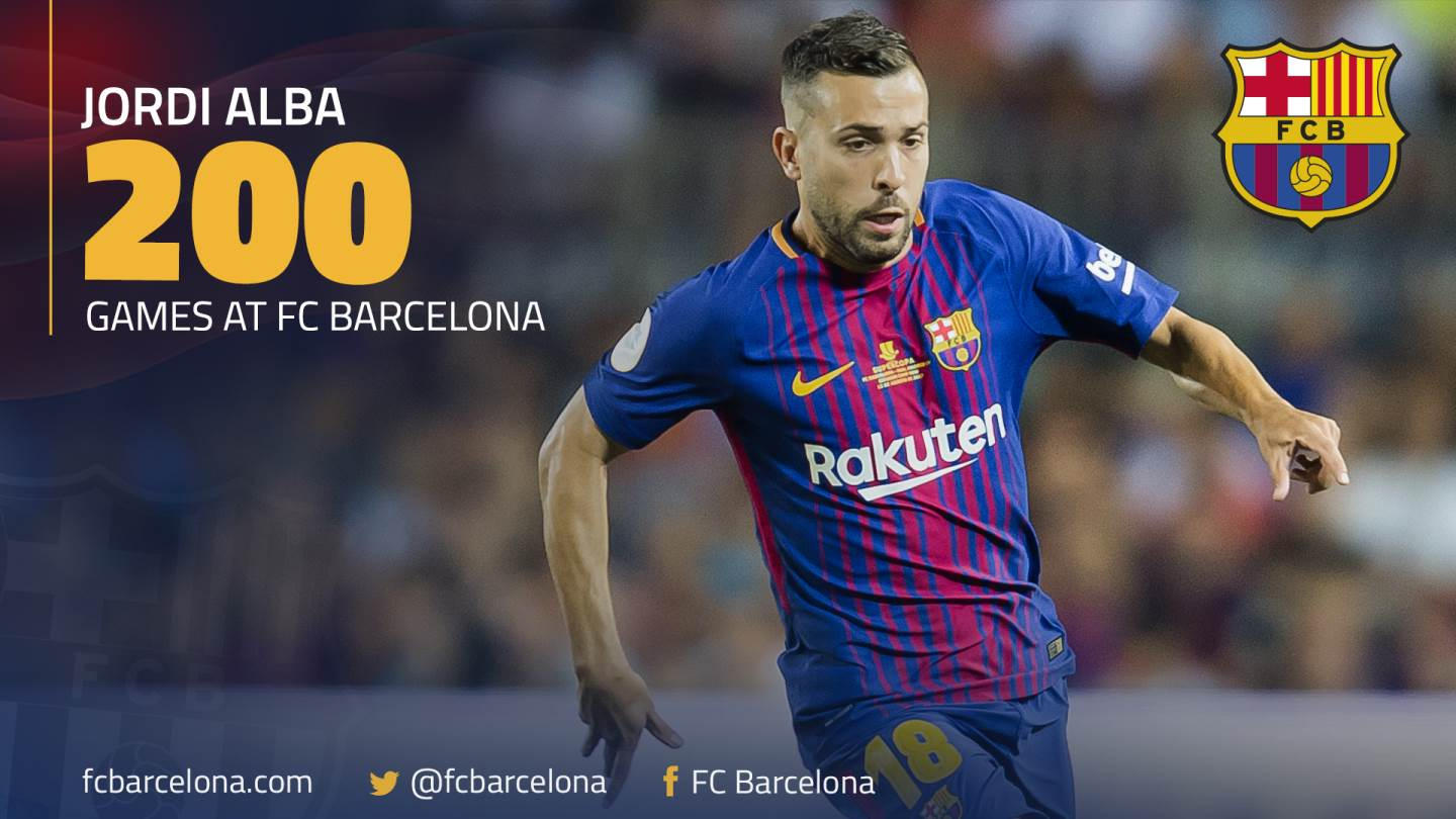 �� @JordiAlba will be making his 200th official appearance for FC Barcelona today! ���� #FCBlive #ForçaBarça https://t.co/sqb8uH5a7h