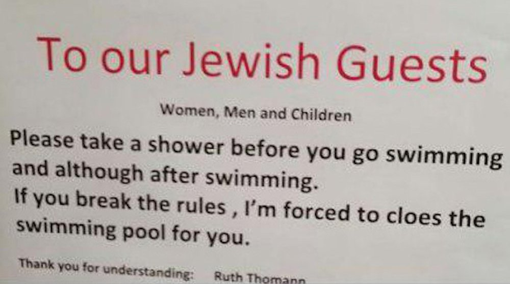 Swiss hotel asks Jewish guests to shower before entering the pool