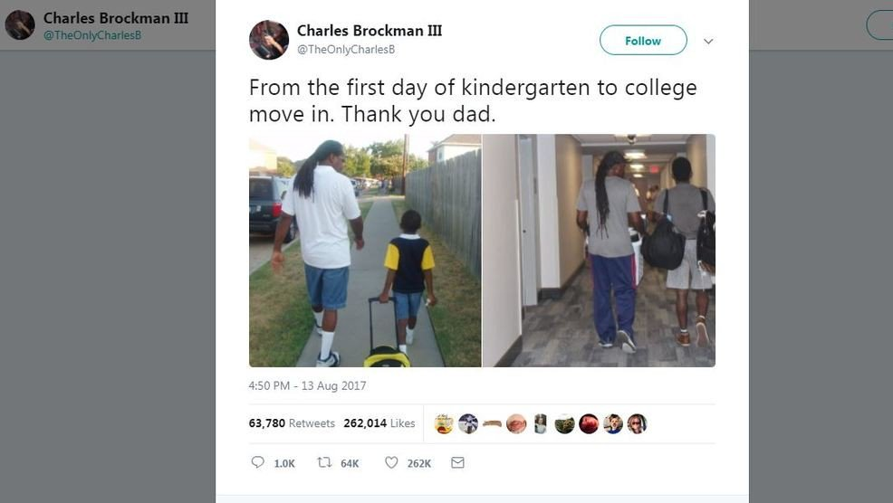 Photos of dad walking son to first day of kindergarten, college move-in day goes viral