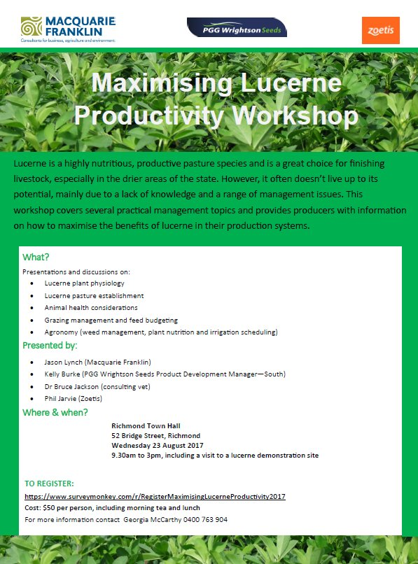 Still places available at next week's lucerne...