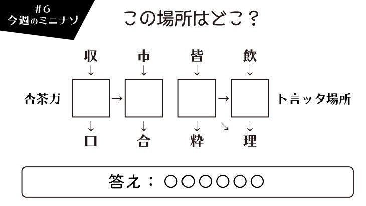 6問目のミニエンディングミニナゾはこちら!正解をツイッターにDM下さい♪全部で12問すべて正解した人の中から抽選で2名の