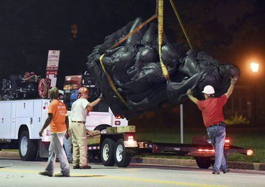 Confederate monuments removed overnight in Baltimore