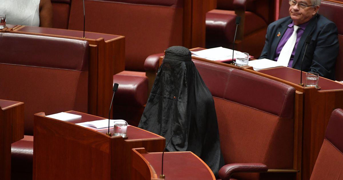 "Australian politician branded ""a disgrace"" after wearing full burqa in Senate"