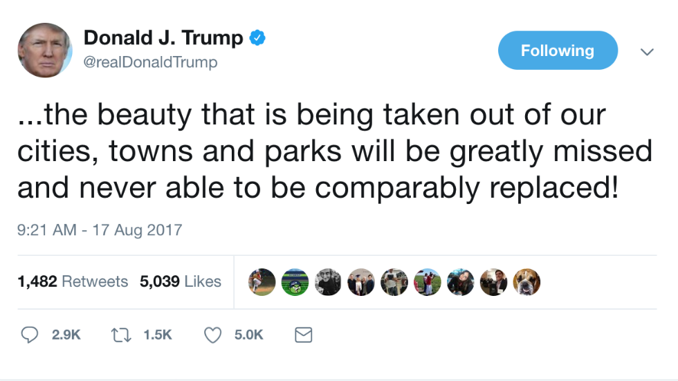 JUST IN: Trump: 'Beautiful' Confederate statues will be 'greatly missed' https://t.co/uTVgydpnah https://t.co/6p9OKMCMNw