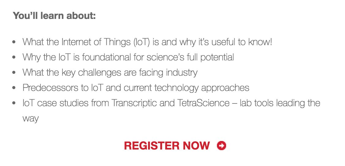 test Twitter Media - TODAY! #DSwebinar on #IoT. Don't miss out. @transcriptic @TetraScience  https://t.co/3jrl0t4Qn9 https://t.co/JNJa2p8HQY
