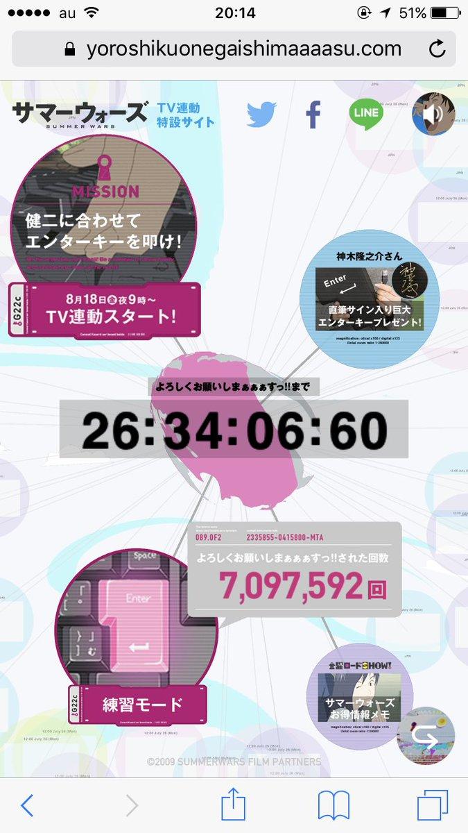 """『サマーウォーズ』テレビ放送連動""""よろしくボタン""""特設サイトがオープンしています。練習モードでボタンが押された回数は、な"""
