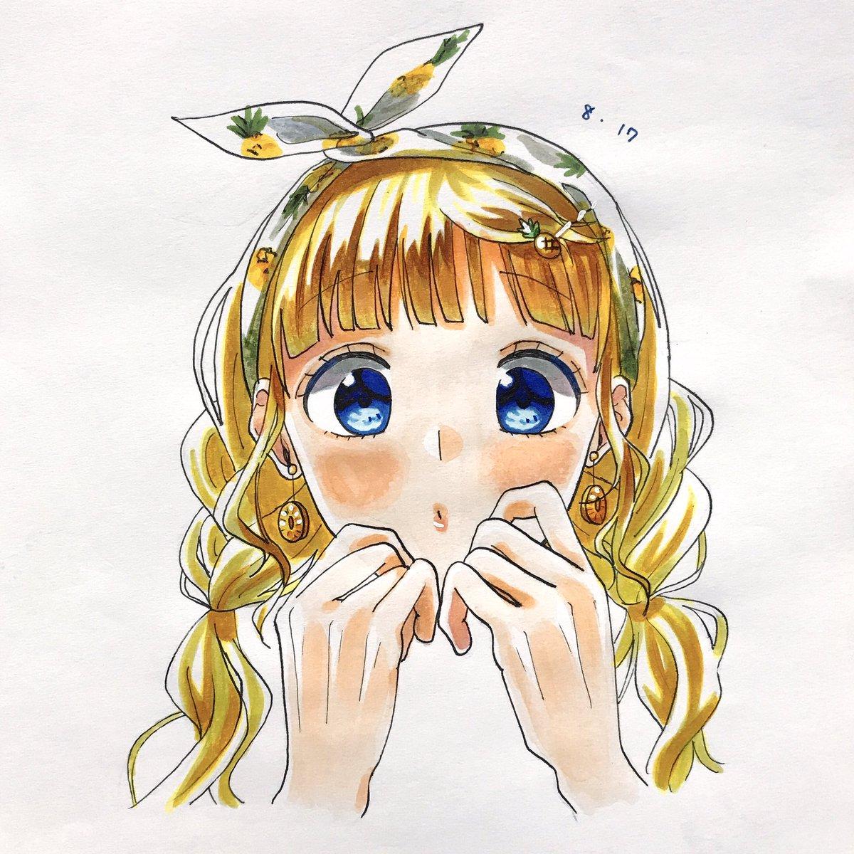ふふお気に入り#パイナップルの日 らしいので#1日1ハニワ#HoneyWorks #成海聖奈#コピック