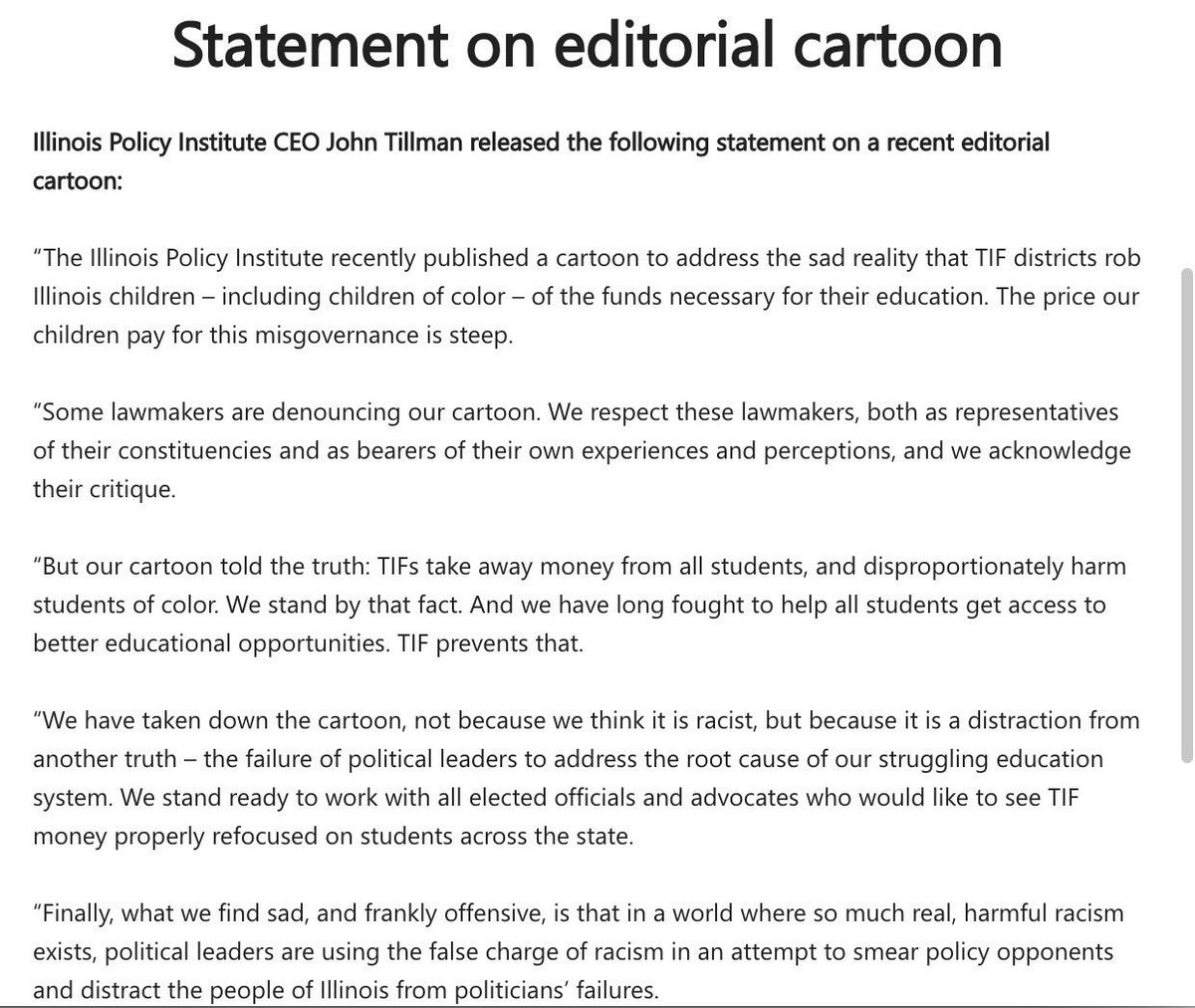 "test Twitter Media - This is no ""false charge of racism"" as your ""apology"" claims @illinoispolicy. And you are fighting educational opportunity, not ensuring it. https://t.co/hZqHhkCGf5"