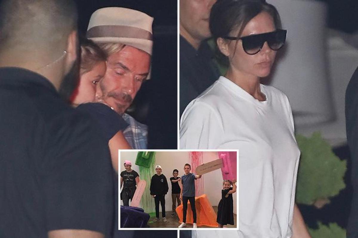 Victoria and David Beckham enjoy a family meal in Malibu after a fun trip to the Museum of Ice Cream as they continue to put on a united front amid rumours of marriage woes