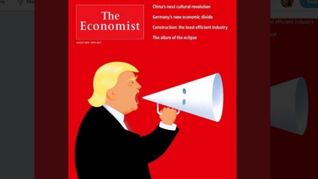 The Economist cover shows Trump using KKK hood as a megaphone https://t.co/JKxthFM7qs https://t.co/8DylA45hHR