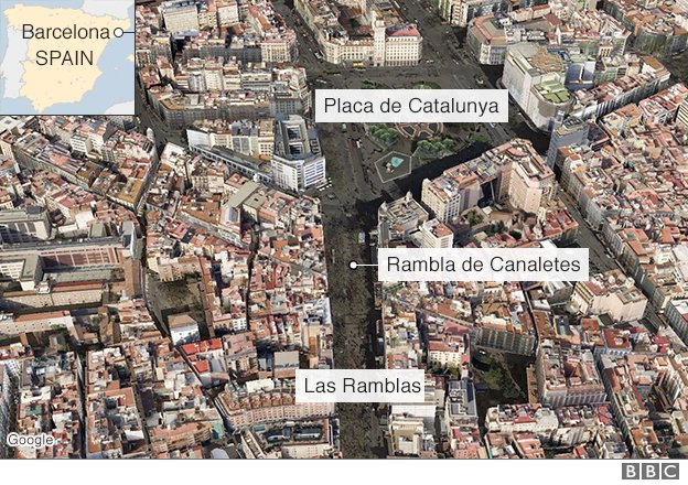 Map shows location of #Barcelona's Ramblas area, scene of incident involving van   https://t.co/ZRoky2QgkM https://t.co/ejLowuNqDr