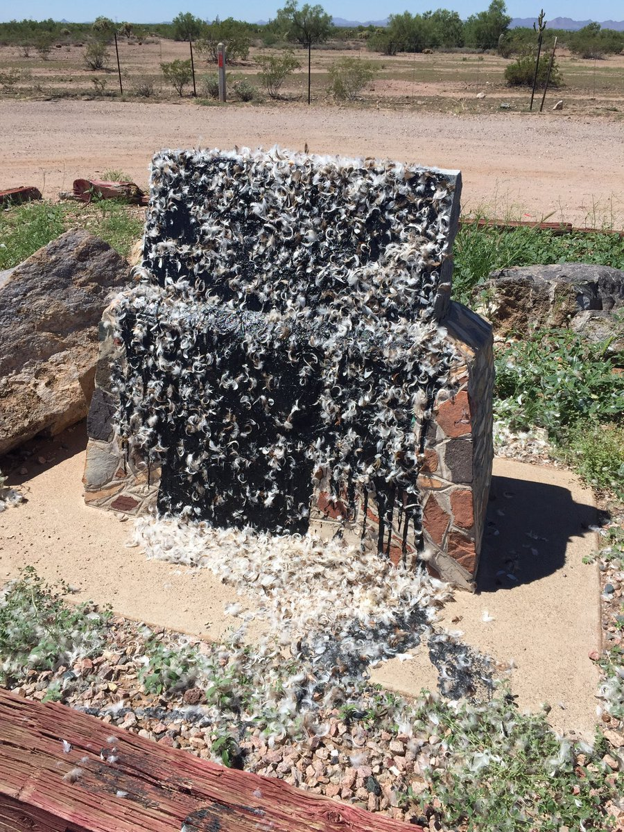 #UPDATE: Jefferson Davis Memorial Highway monument tarred and feathered near Gold Canyon. https://t.co/PNKk5A4VoR https://t.co/crG8IzezUZ