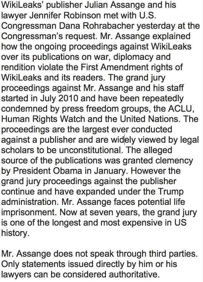 RT @JulianAssange: Statement on meeting U.S. Congressman @DanaRohrabacher yesterday https://t.co/XAg4wOqVw3 https://t.co/EVbi2zXyLW