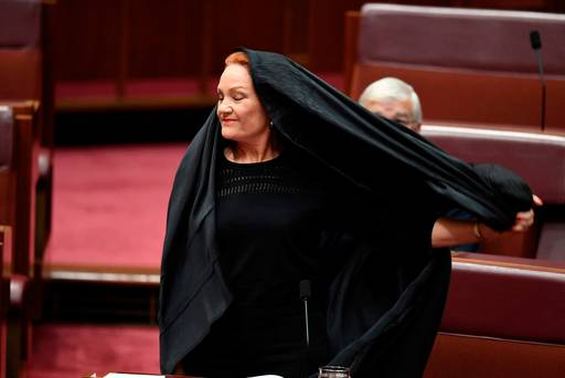 WATCH: Anger after anti-immigrant senator wears a burka in parliament