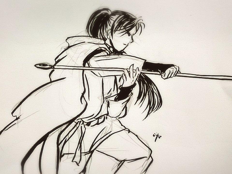 少し前に試しに描いてみました精霊の守り人バルサ消しゴム消してませんが…💦筆ペン練習します😂💦