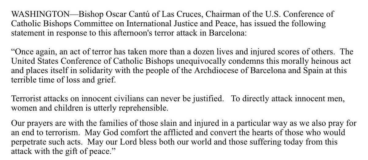 test Twitter Media - U.S. Bishops Conference Chairman Statement in Response to Barcelona Terror Attack https://t.co/eZEHgxicQD