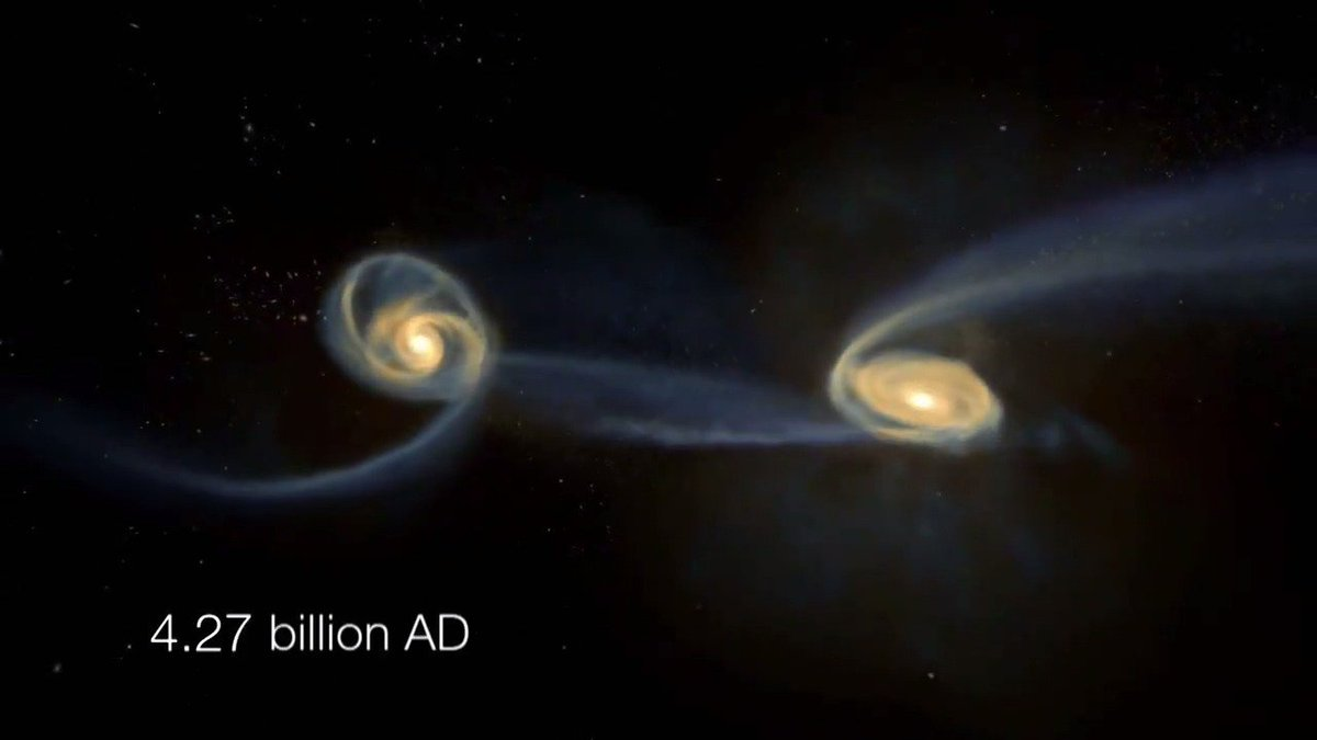 In 5 billion years, the Andromeda and Milky Way galaxies will combine to form a new galaxy Milkomeda.