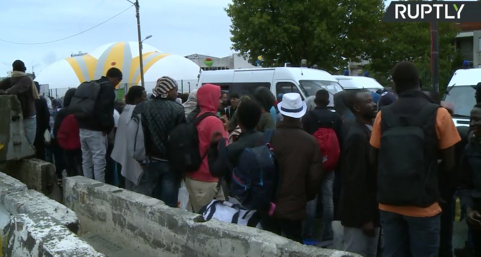 WATCH LIVE: French police clear Paris refugee camp  for 2nd time