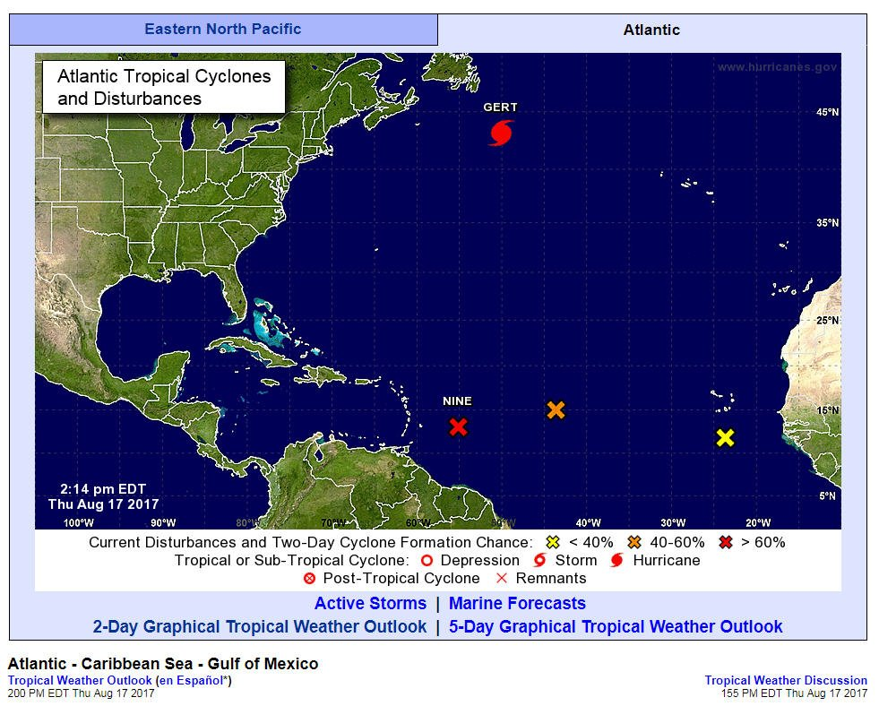 Storm activity in the Atlantic sees formation of Hurricane Gert, another tropical disturbance
