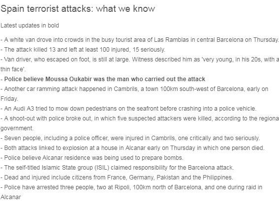 Spain terrorist attacks: what we know
