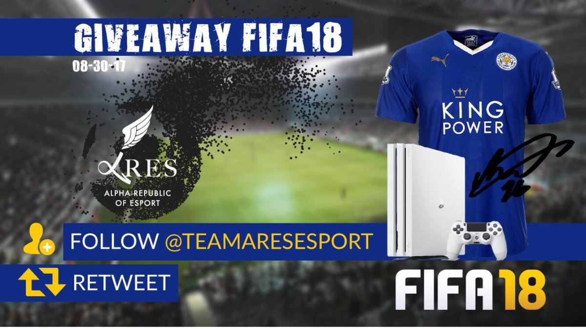 Win your PS4 + FIFA 18 + 1 JERSEY FOLLOW @TeamAresEsport . Retweet to ENTER the GIVEAWAY . Winner will be randomly drawn 08/30/18 https://t.co/p7T2CYVREs