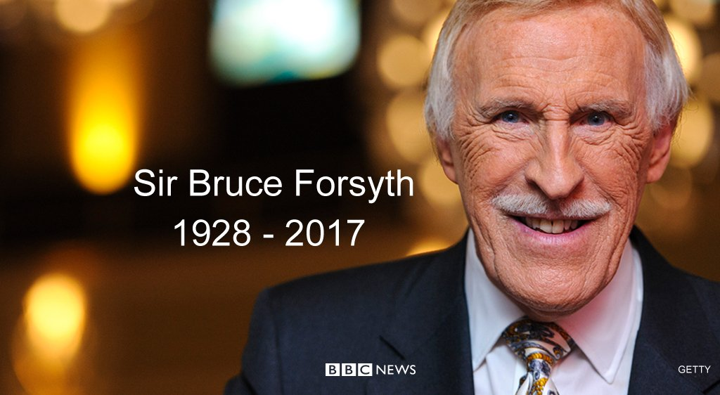 Sir Bruce Forsyth, veteran entertainer and star of British TV, dies aged 89  https://t.co/RNVvZMfTQf https://t.co/w45myT7WI0