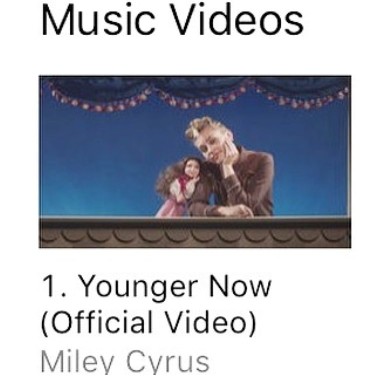 #1 music video on iTunes already?!???? ❤️�������� #YoungerNow Is OUT everywhere! https://t.co/jwwy49AUMM https://t.co/r7oEC8ISLd