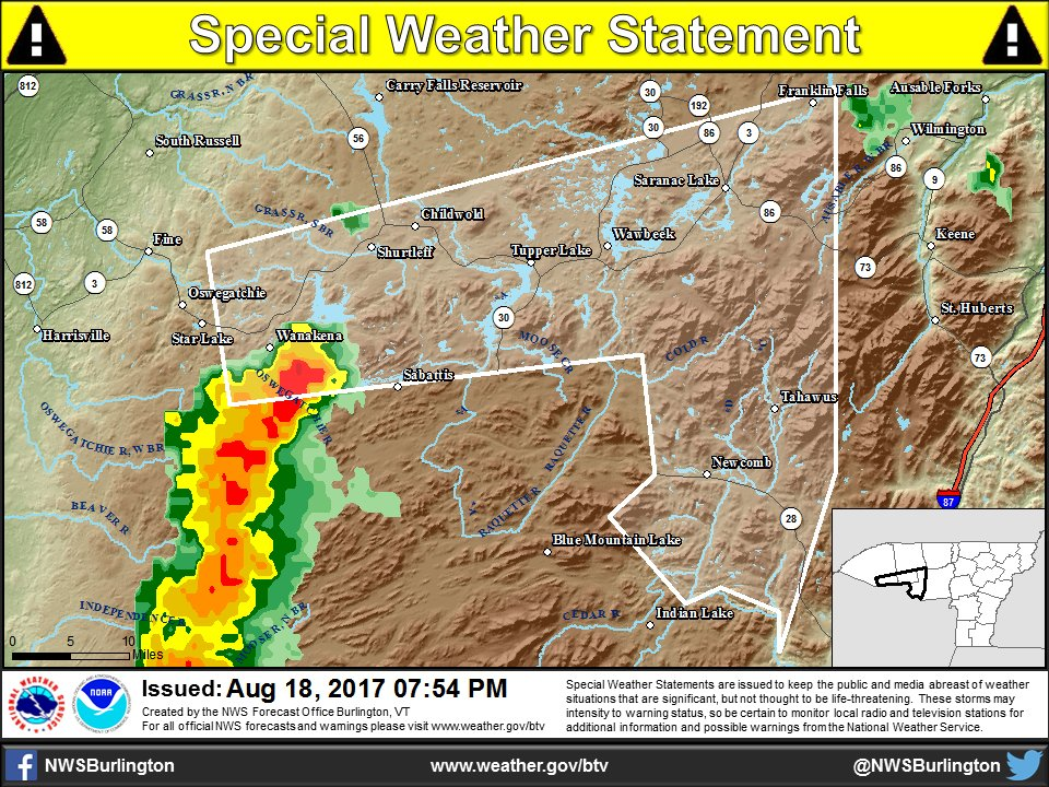 test Twitter Media - Strong line of #Thunderstorms  moving across the #Adirondacks this evening. When thunder roars, head indoors. #nywx https://t.co/IFrQ6hYj8h