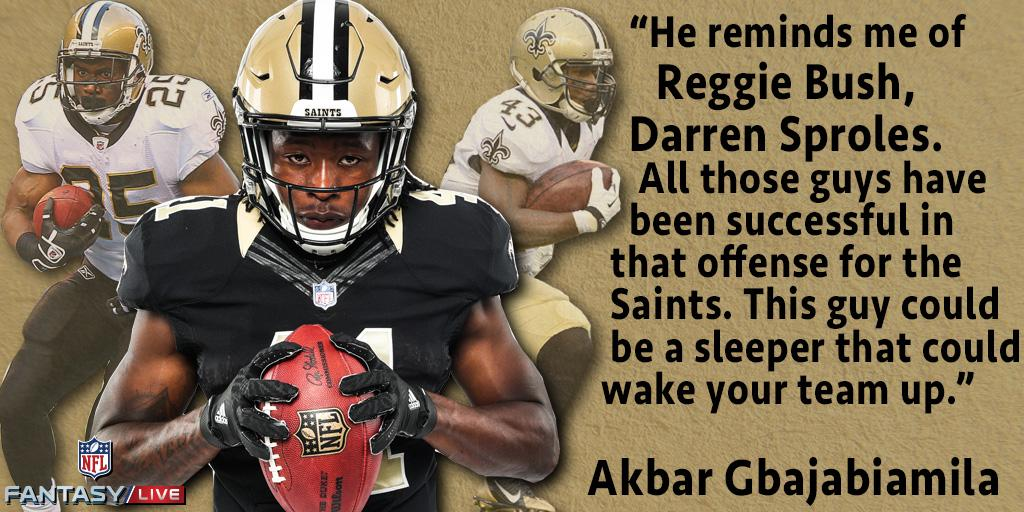 Don't sleep 💤 on @A_kamara6. @Akbar_Gbaja  thinks he will have an important role in the @Saints backfield. https://t.co/aBn4nD6lV6