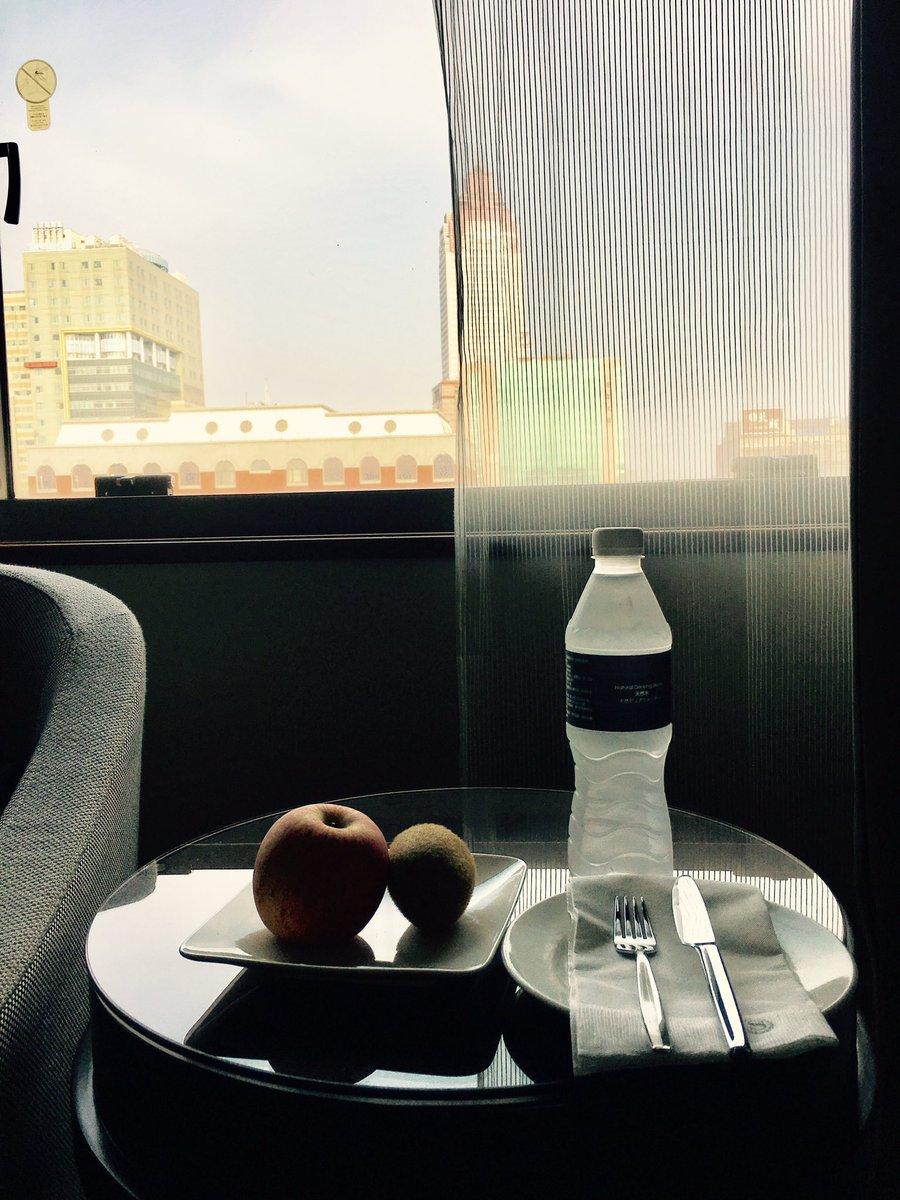 Good Morning!Today, I'll go to 華山 in 台北.今朝の朝食は、昨日のウェルカムフルーツで