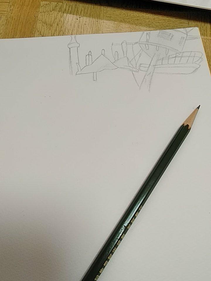 ハウルの動く城の城描き始めました(白目)