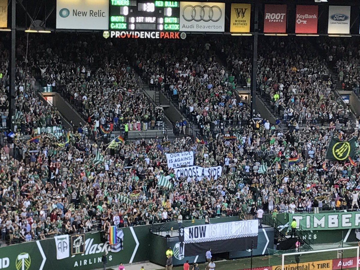 "RT @Jamiebgoldberg: A message from fans in Timbers Army: ""Choose a side. Our side is against racism"" #RCTID #MLS https://t.co/StuRp6b29S"