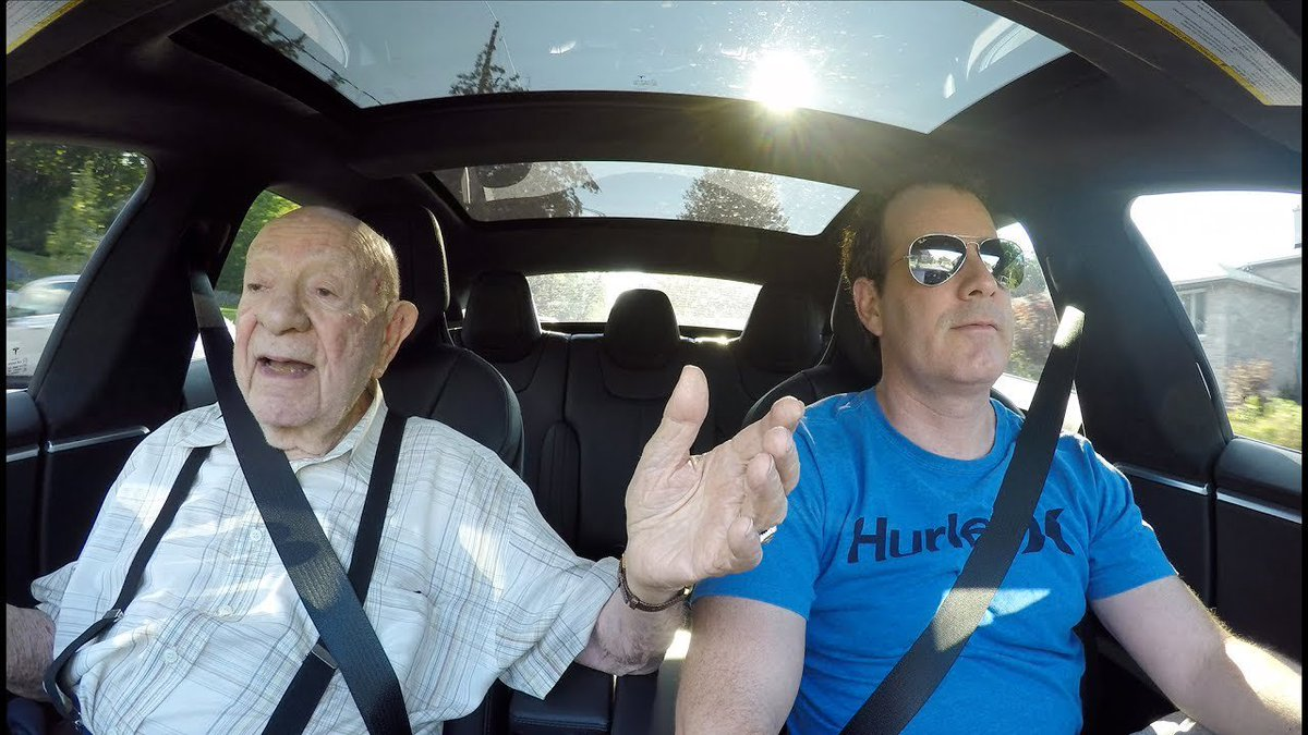 97 year old grandpa is left sp tesla