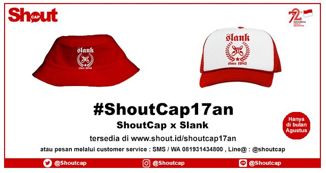 ShoutCap x @slankdotcom edisi spesial #ShoutCap17an dengan SPECIAL PRICE.  Yuk order : https://t.co/rl7nRwZRre :D https://t.co/QigU48qDMY