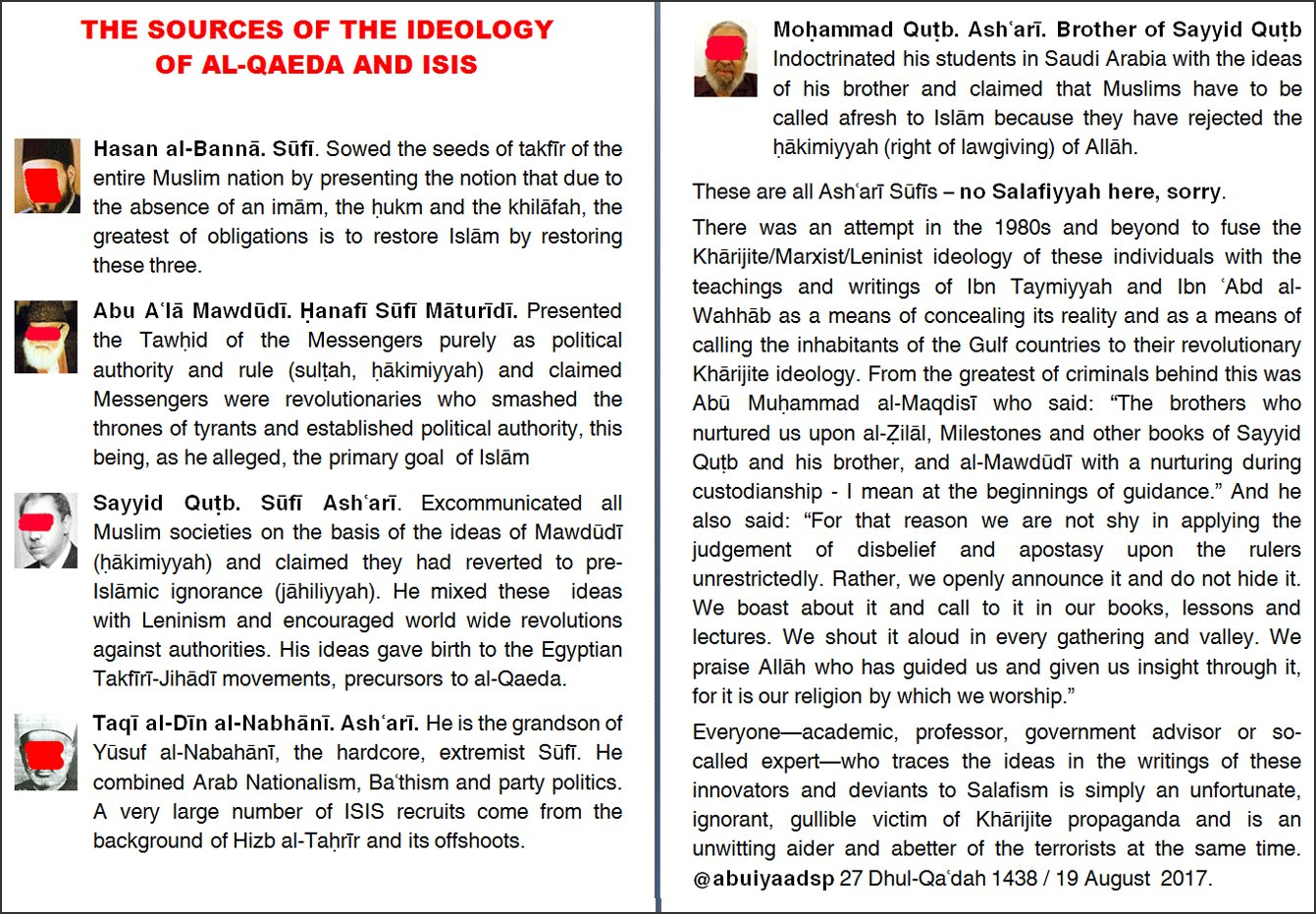 Sources of the Core Ideology of al-Qaeda and ISIS: Sufi Ashari Maturidis Combining European Revolutionary Ideology with Kharijite Doctrine. https://t.co/L6AoOpnWEh