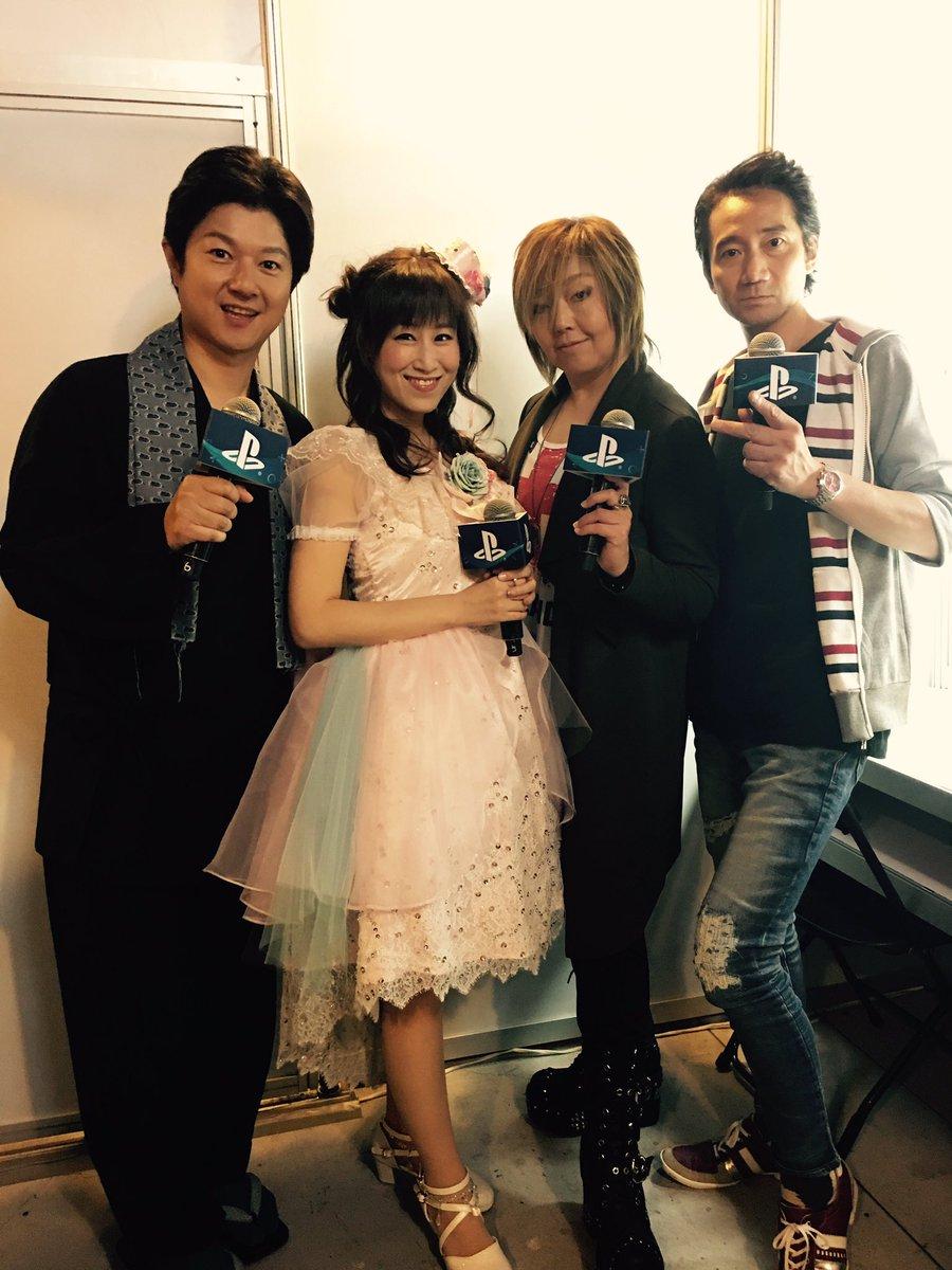 台北 #ダンガンロンパ イベント出演メンバー。松風雅也、大本眞基子、オガタ、三木眞一郎。ここに、我々の後のステージ(FF