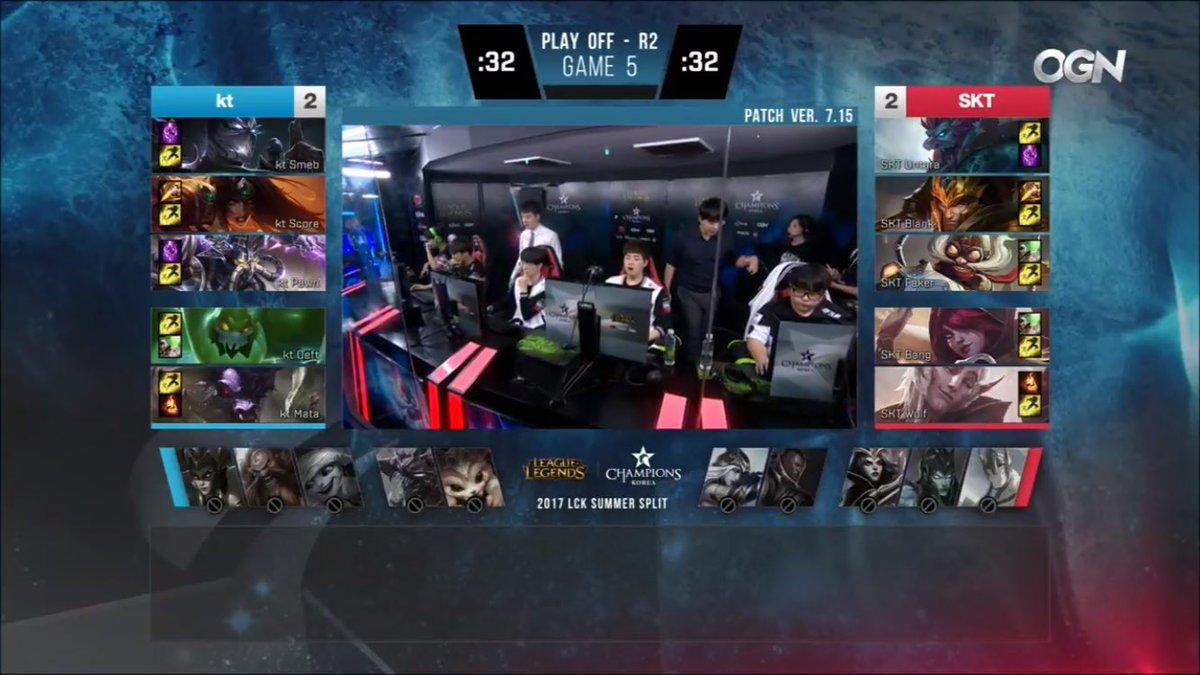 KT vs SKT deciding Game 5 - Winner moves on to face LZ, loser gets eliminated. #SKTWIN! https://t.co/avQeCYRcgo https://t.co/krjd5visv6