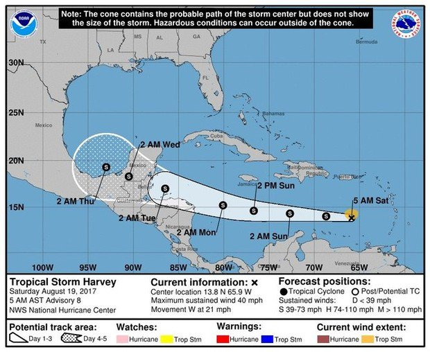 Tropical Storm Harvey 2017 could wind up in Bay of Campeche