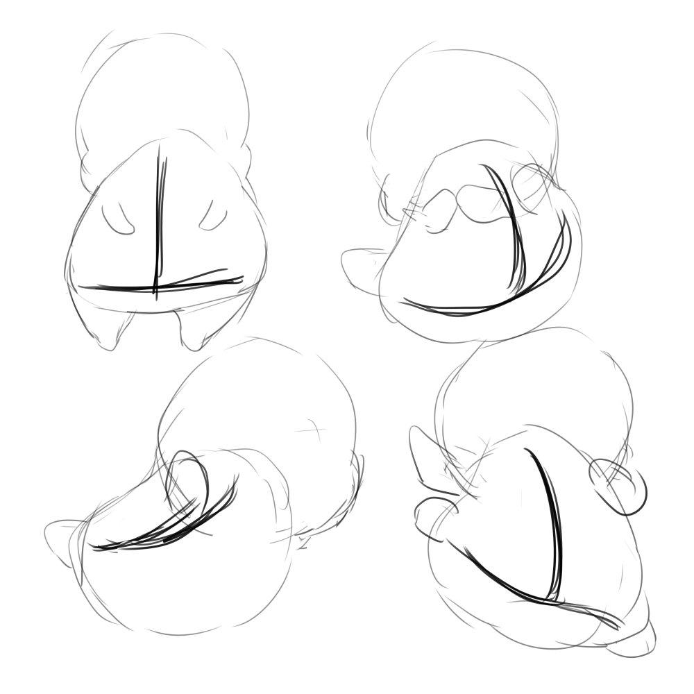 ここたまの描き方其の二。おにぎりは変形しやすいです。ポーズを付けるときは逆T字を意識して、これを柔軟に歪ませてポーズを付