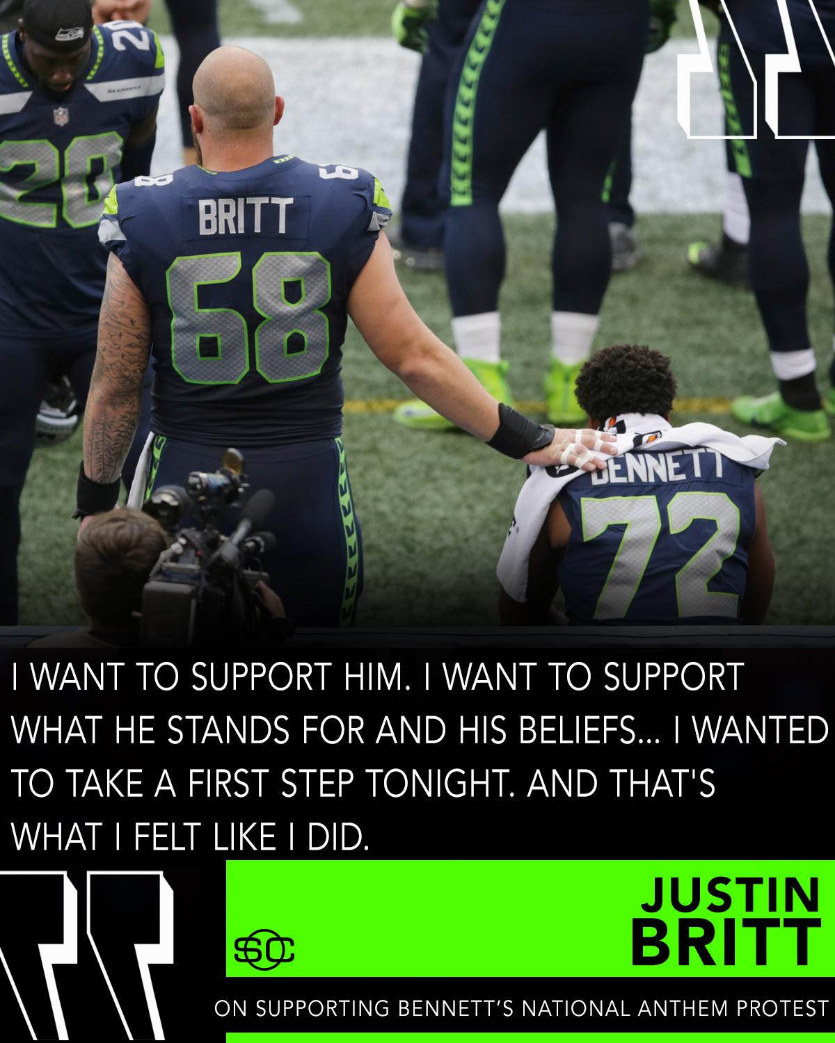Justin Britt showed support of teammate Michael Bennett's national anthem protest on Friday. https://t.co/FxxF0YQ9vr https://t.co/pzFCwUVela