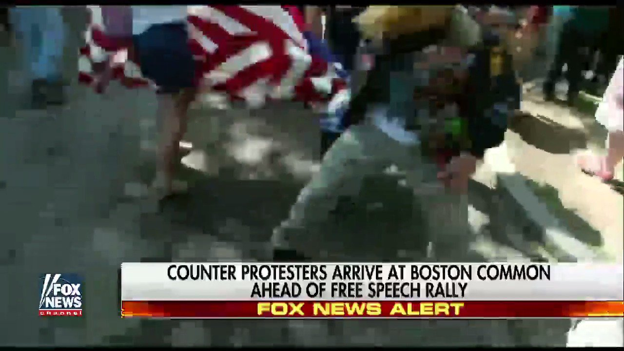 MOMENTS AGO: Woman waving American flag hit, dragged by protester at #FreeSpeechRally in #Boston. #BostonCommon https://t.co/7swgamIOjU