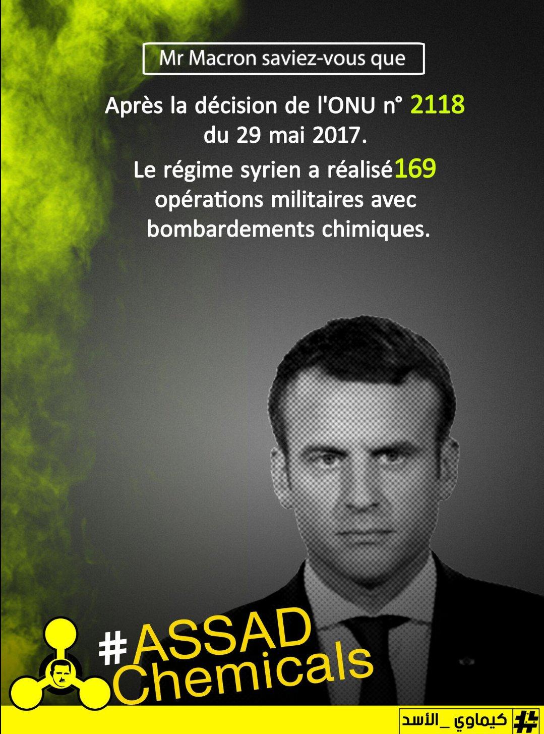 .@EmmanuelMacron La #France doit intervenir pour rendre justice en #Syrie aux 1477 morts gazés. #AssadChemicals☢ https://t.co/94U32hZJqD