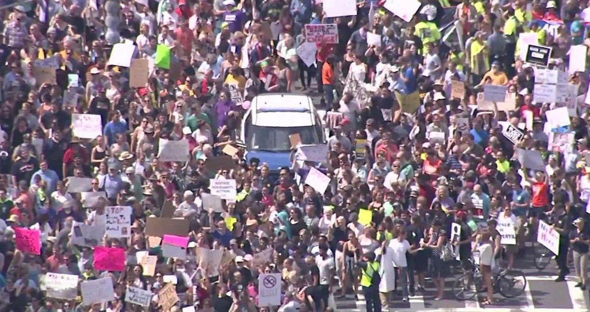 Protesters march in Boston rally Saturday