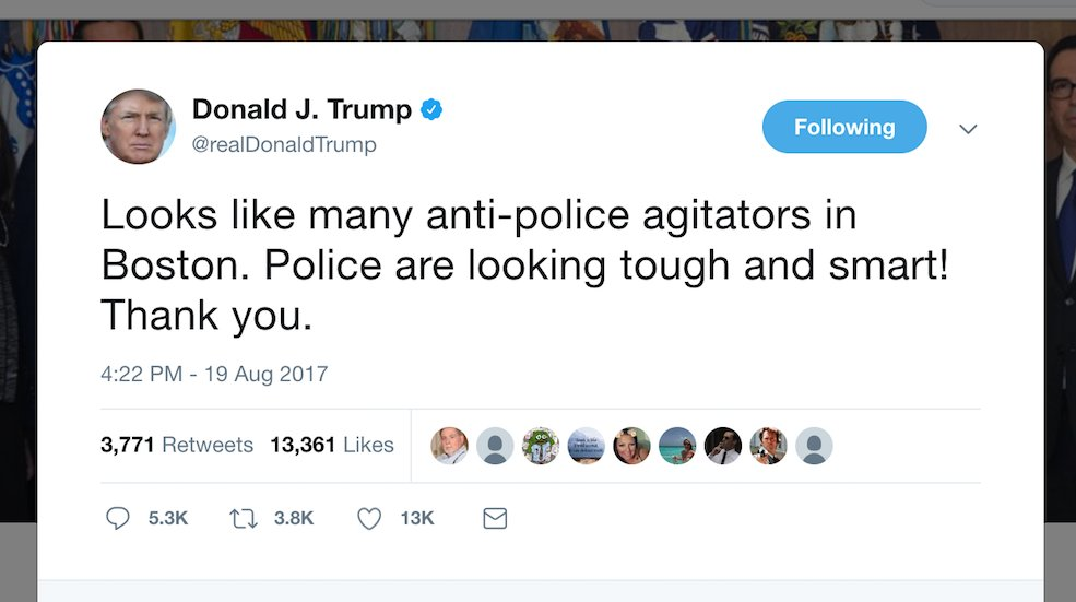 JUST IN: Trump calls largely peaceful Boston counter-protestors 'anti-police agitators' https://t.co/adTTldPgLv https://t.co/OUlv5BocWe