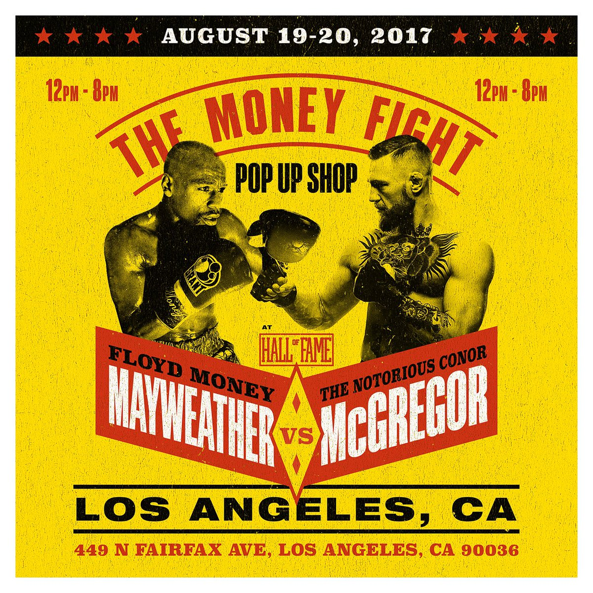 test Twitter Media - DOORS ARE OPEN! Stop by to get your fight merchandise &enter the KO raffle to win 8/26 +more! #MayweatherMcGregor 📍@HallofFameLTD  ⏰: 12-8pm https://t.co/N40hhPK0pe