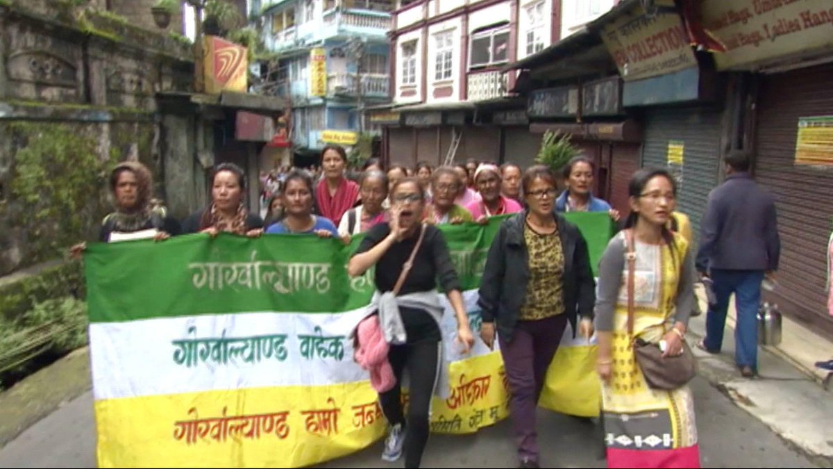 """We want Gurkhaland to happen.""  Ethnic Gurkha group enter 9th week of strike in India"